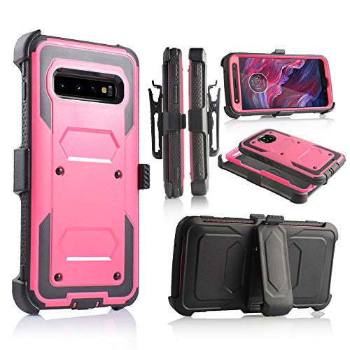 6goodeals Compatible with Galaxy S10 Plus Case Military Grade Drop Tested with Built in Kickstand Holster (Pink)