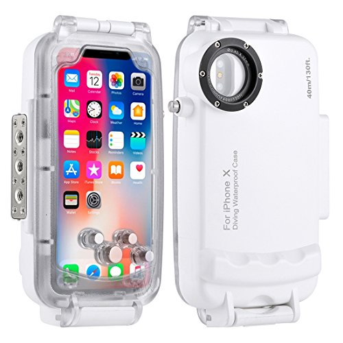 HAWEEL iPhone X Underwater Housing Professional [40m/130ft] Diving Case for Diving Surfing Swimming Snorkeling Photo Video with Lanyard (iphone X, White) - Iphone Housing