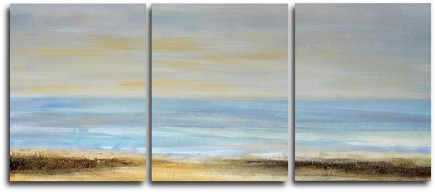 Carteles e Impresiones de la Acuarela del Nivel del mar de la Salida del Sol Cuadros de la Pared para la decoración del hogar de la Sala de estar-40X60Cmx3 PC sin Marco