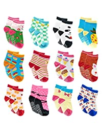 12 Pairs Toddler Baby Socks Cotton Socks with Anti-Slip Grips For Unisey Kids 2T to 3Tx Bab