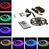 mdairc camper lights, 16.4ft RGB Color Changing Kit with LED Flexible Strip, Controller with 44-button Remote Controller + 12 Volt Power Supply
