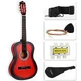 LAGRIMA Beginners Acoustic Guitar w/Guitar Case, Strap, Tuner & Pick Steel Strings (Red)