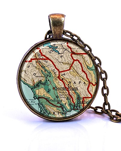 Wine Country, California Map Pendant Necklace by Paper Towns Vintage. Wine Country necklace handmade from a 1960 map. Map necklace includes adjustable chain and gift packaging. Custom available.