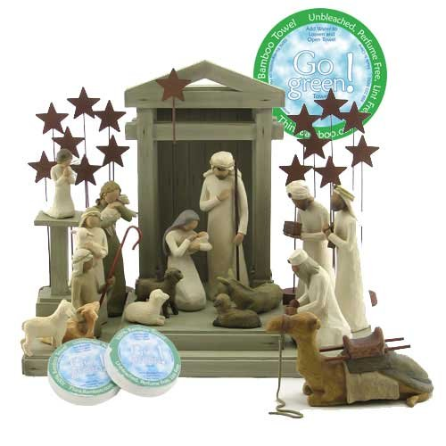 Willow Tree 19 Piece Nativity Set By Susan Lordi (2 Metal Star Backdrops) with Go Green! Compressed Bamboo Towels by Willow Tree