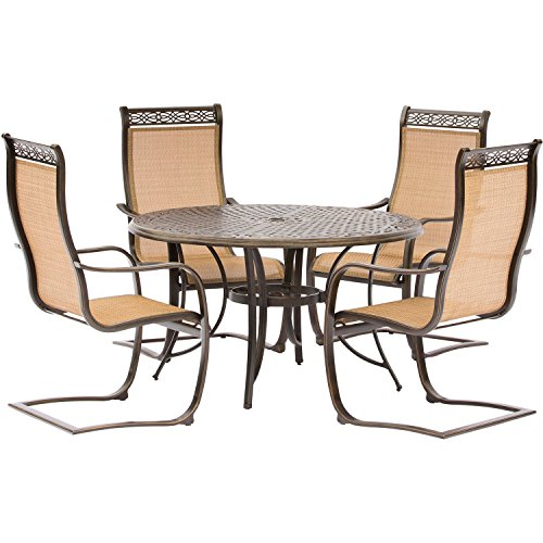 Hanover MANDN5PCSP Manor 5 Piece Set with C-Spring Chairs and a Cast-top Dining Table Outdoor Furniture, Tan