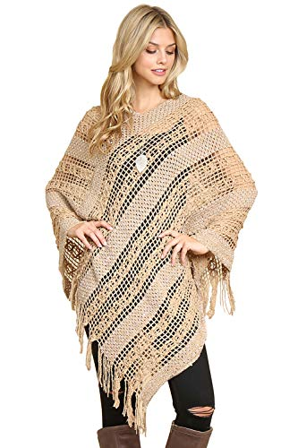 Classic Soft Warm V-Neck Sequin Crochet Fringe Loose Cape Poncho - Open Knit Long Tassel Hem Pullover Sweater Shawl Wrap ()