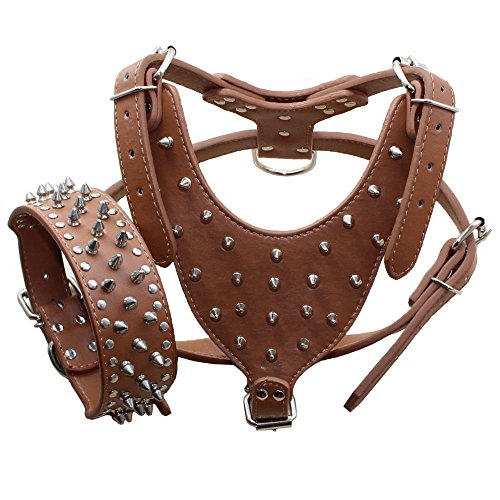 Avenpets American Pit Bull Terrier Leather Harness and Collar Set for Walking and Training with Adjustable Straps,Brown,XL