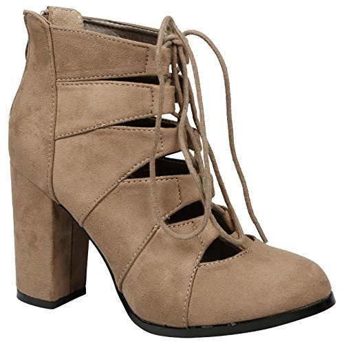 Feet First Fashion Florence Womens High Block Heel Lace up Closed Toe Ankle Boots Taupe Faux Suede h8B6d