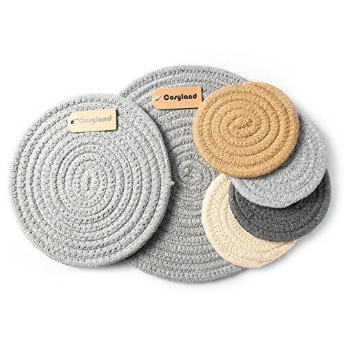 Cosyland Place mats Set Table Mats Round Cotton Coasters Anti-skip Washable Placemat 1 Set of 6 pcs for Dinner Kitchen BBQ Everyday