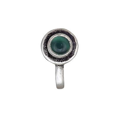 Buy Mirrorwhite Silver Clip On Antique Oxidised Green Onyx Chakra