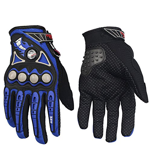 XuBa Cycling Street Moto Racing Protective Gloves for Outdoor Riding Tribe Motorcycle Motorbike Motocross, Blue XL