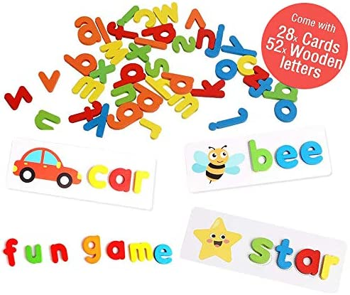 See and Spelling Learning Toys Sight Words Matching Letter Puzzles GamesWord Spelling GamesMontessori Preschool Educational ToysAlphabet Flash Cards Set for Kids Age 3 (Letters x 52 Cards x 28)