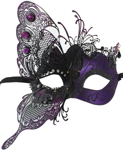 Purple Venetian Mask (RedSkyTrader Womens Dragon Metal Mask One Size Fits Most Purple Black)