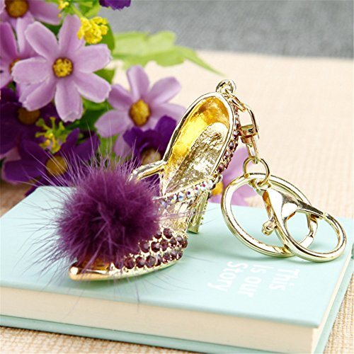 Feather High Heels Shoes Korean Bow Heels Keychain Keyrin...