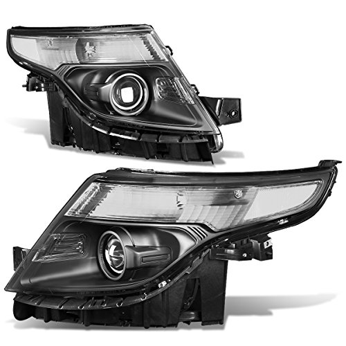 For Ford Explorer 5th Gen U502 Pair of Black Housing Clear Corner Projector Headlight