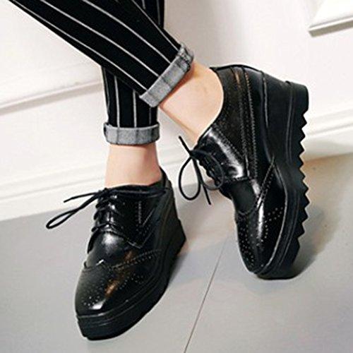 Las Mujeres De La Vendimia De Casual Casual Punta Cuadrada Suela Gruesa Con Cordones Cuña Tacones Mediados De Zapatos De Plataforma Zapatos Negro