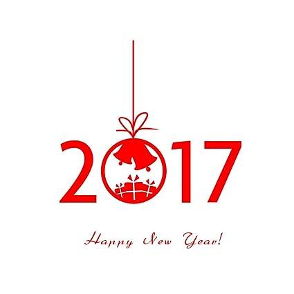 Blusas Año Nuevo 2017 Feliz Navidad etiqueta de la pared (Rojo)