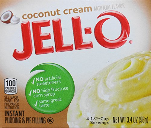Jell-O Coconut Cream Instant Pudding & Pie Filling, 3/4 oz (96g) (3-Pack)