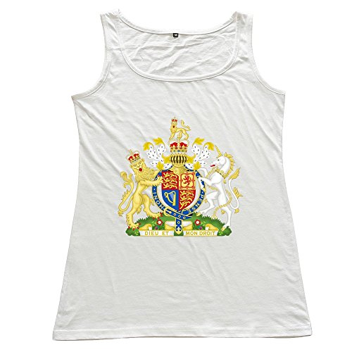 Royal Coat Of Arms Of The United Kingdom Women's 100% Cotton Sleeveless Sweater White (Royal Coat Of Arms Of The United Kingdom)