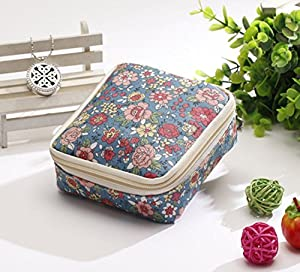 FANTASIEN Multifuction Sanitary Napkins Bag Menstrual Cup Pouch Nursing Pad Holder Flower Printed Washable Earphone Key Charger Jewelry Organizer Storage Bag Pounch