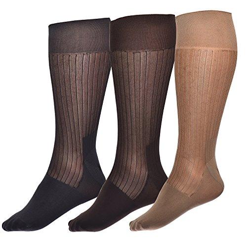 Ultra Thin Summer Sheer Socks for Men Breathable Silky Dress Socks 3 Mix Pairs in (Sheer Dress Socks)