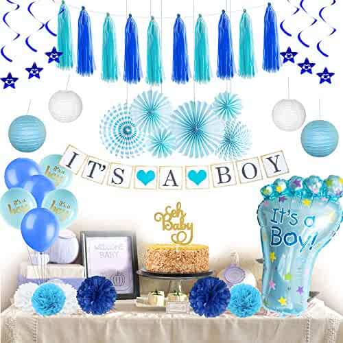 Baby Shower Decorations for Boy - Its a Boy Banner Royal Premium Decoration Items Welcome Prince Party Backdrop Decor Hanging Star Swirls Foot-Shaped Foil Balloon Lanterns Paper Flowers Cake Topper