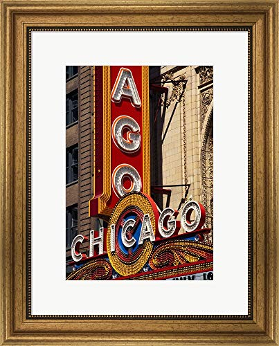 Chicago Theater Sign, Illinois by Panoramic Images Framed Art Print Wall Picture, Wide Gold Frame, 18 x 22 ()