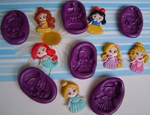 Lote de 6 Moldes de Silicona Princesas Ariel, Rapunzel, Blanca Nieves, Bella,