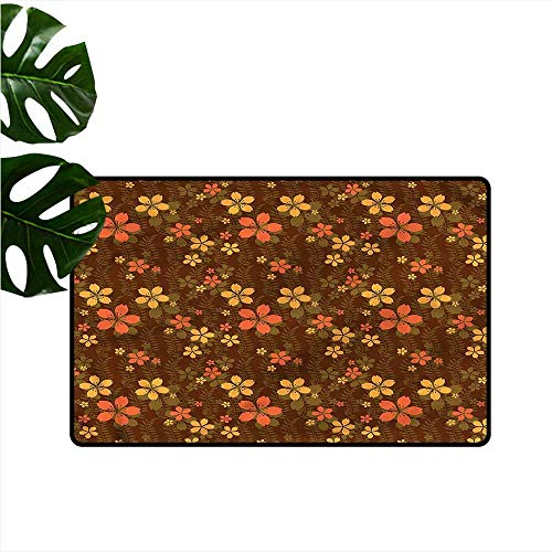 Welcome Door mat Chocolate Wildflowers and Leaf All Season General W35 xL59