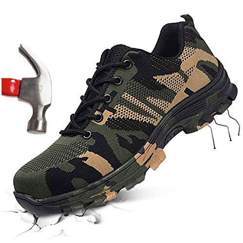 (FEETCITY Camouflage Work Shoes for Men and Women, Industrial Construction Outdoor Casual Steel Toe Sneakers, Waterproof Puncture Proof Safety Unisex Footwear Camouflage Green (W:9.5/M:7.5))