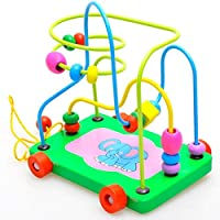 XuBa New Math Game Toys Cartoon Colorful Wooden Activity Cube Bead Maze Puzzle Abacus Shape Toy for Kids 1 pcs as Picture Show