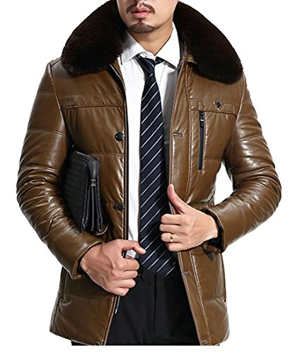 today Puffer PU Khaki UK Quilted Winter Down Mens Faux Jacket Collar Fur Leather TaTvr6qw