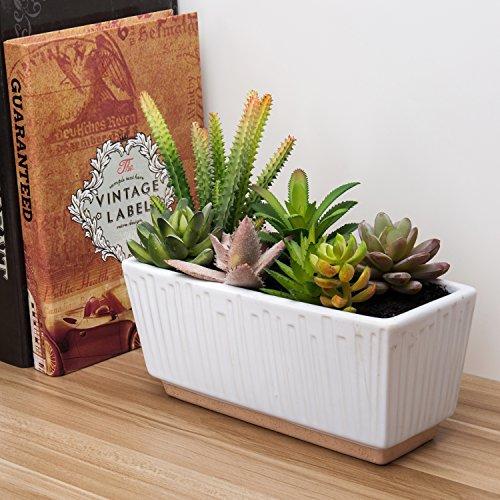 Mixed Artificial Succulent Plant Arrangement in 9-Inch Fluted White Ceramic Planter Pot