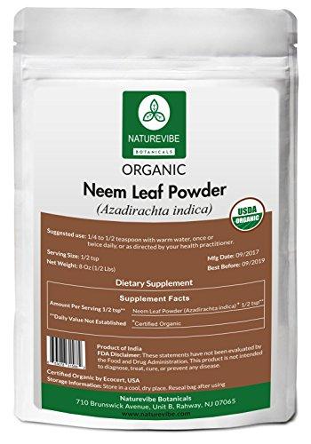 Naturevibe Botanicals USDA Organic Neem Leaf Powder (8 Ounces) - Azadirachta Indica - 100% Pure & Natural ()