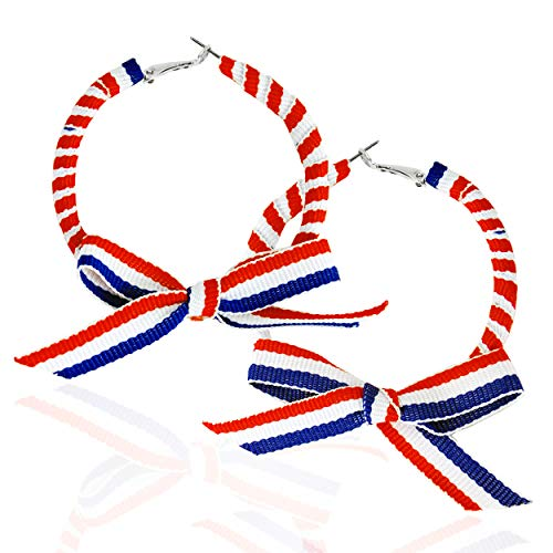Ribbon Earrings - XS Accessories Festive Patriotic American Red White and Blue Ribbon Covered Hoop Earrings with Pretty Bow for 4th of July and Memorial Day