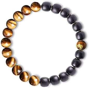 Feng Shui Black Obsidian Wealth Bracelet - Tiger Eye Mens Bracelets Crystal Bring Luck Prosperity Stretch Beaded Bracelet for Women Anxiety Bracelet Oil Diffuser Couples Bracelets