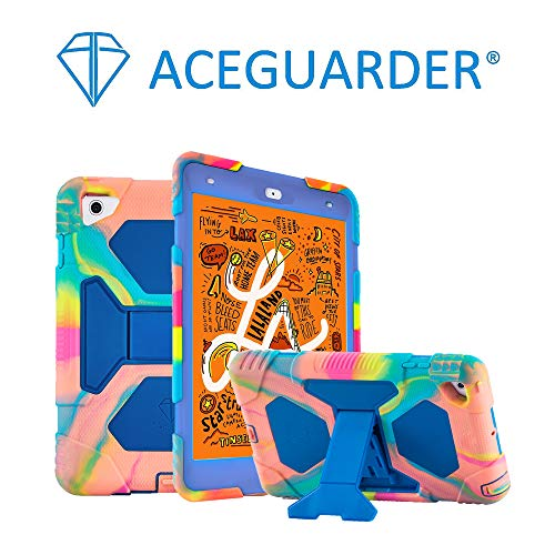 ACEGUARDER New iPad Mini 5 Case 2019, iPad Mini 4 Kids Case Soft Silicone Shockproof Durable with Adjustable Kickstand Protection Cover (Rainbow Blue)