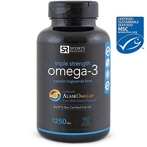 Omega-3 Wild Alaskan Fish Oil (1250mg per capsule) with superior Triglyceride EPA...