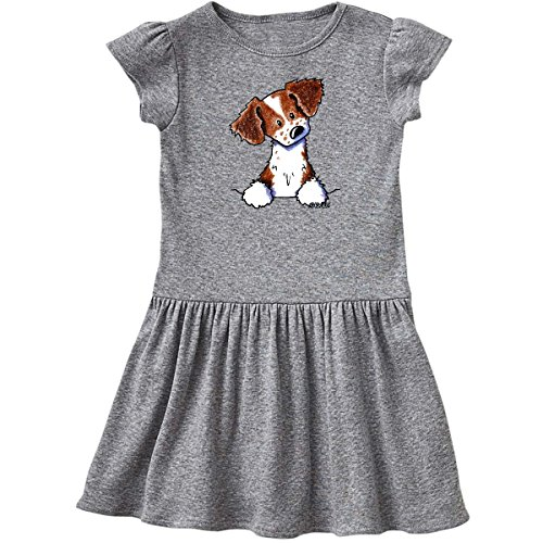 inktastic Pocket Brittany Spaniel Toddler Dress 3T Heather Grey - KiniArt 3d91 (Brittany Cocker Spaniel)