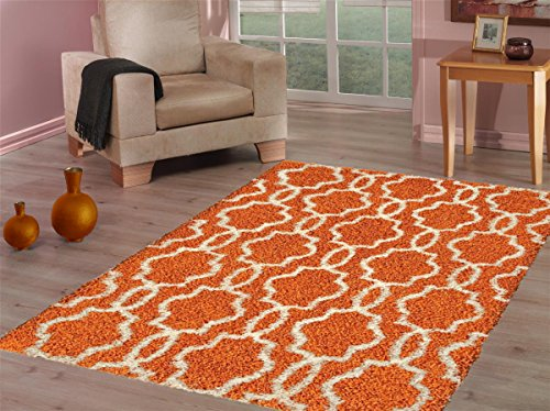 Orange Area Rug (Kapaqua Moroccan Trellis Shag Area Rug, Royal Shag Collection, SHG4509,  Orange/Ivory)