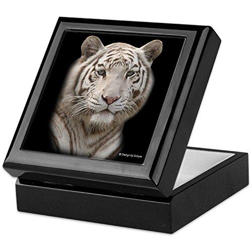 CafePress - White Tiger - Keepsake Box, Finished Hardwood Jewelry Box, Velvet Lined Memento Box