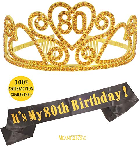 80th Birthday Gold Tiara and Sash, HAPPY 80th Birthday Party Supplies, 80th Black Gold Glitter Satin Sash and Crystal Tiara Birthday Gold Crown for 80th Birthday Party Supplies and Decorations (Gold) ()