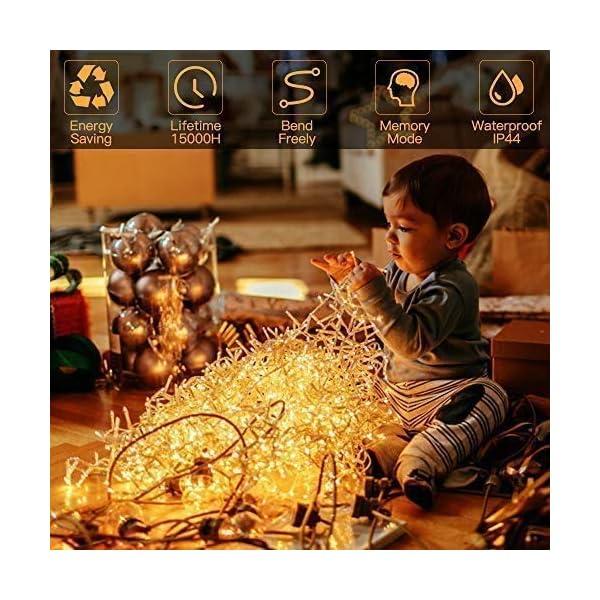 Luci Natale Esterno, GlobaLink Catena Luminosa 25M 1000 LEDs Stringa Luci Led Impermeabili, 8 Modalità Luce, Funzione Memoria per Uso Interno Esterno Natale Matrimonio Casa Giardino Feste-Bianca Calda 4 spesavip