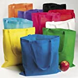 Fun Express Nonwoven Polyester Tote Bag Assortment – 50 Pieces