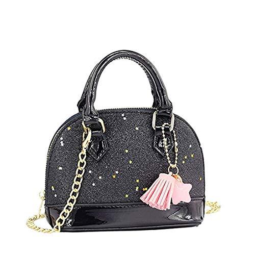 Dukars Little Girls Sequins Handbags Princess Crossbody Bag Mini Satchel Gifts For Girls Toddler Kids (Black)