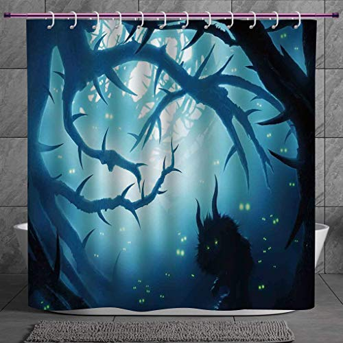 SCOCICI Funky Shower Curtain 2.0 [ Mystic House Decor,Animal with Burning Eyes in Dark Forest at Night Horror Halloween Illustration,Navy White ] Fabric Shower Curtain