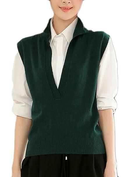 Gaga Womens Laple V Neck Knit Pullover Sweater Vest Waistcoat 1