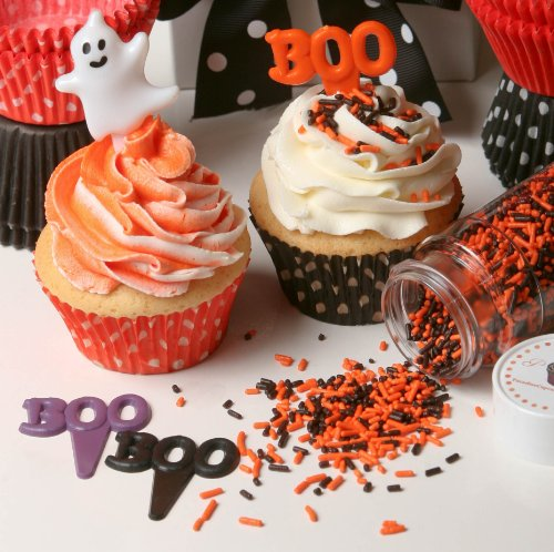 Oasis Supply Cupcake/Cake Decorating Boo Puffy Picks, 2-Inch, Purple/Orange/Black, 12-Pack -