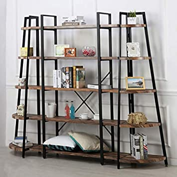 O K Furniture 5-Shelf Industrial Style Bookcase and Shelves, Free Standing Storage Shelf Units