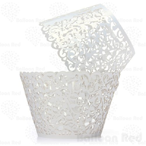 Vines Artistic Filigree Lace Laser Cut Cupcake Wrappers Muffin Case, Pack of 100, White - Cupcake Costumes Homemade